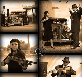 Bonnie & Clyde Historical Reenactment in Old County Jail in San Elizario, Texas